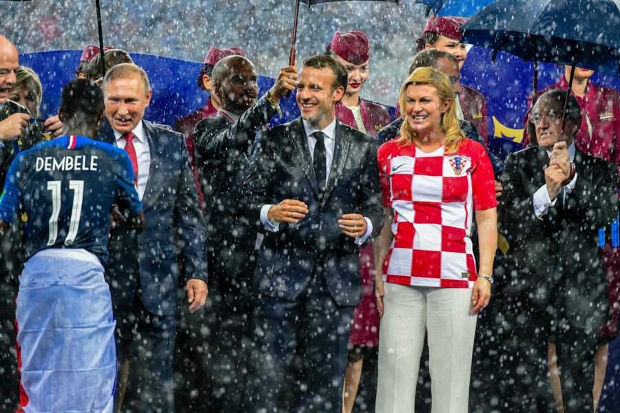 Emmanuel Macron et la présidente de Croatie Kolinda Grabar-Kitarovic