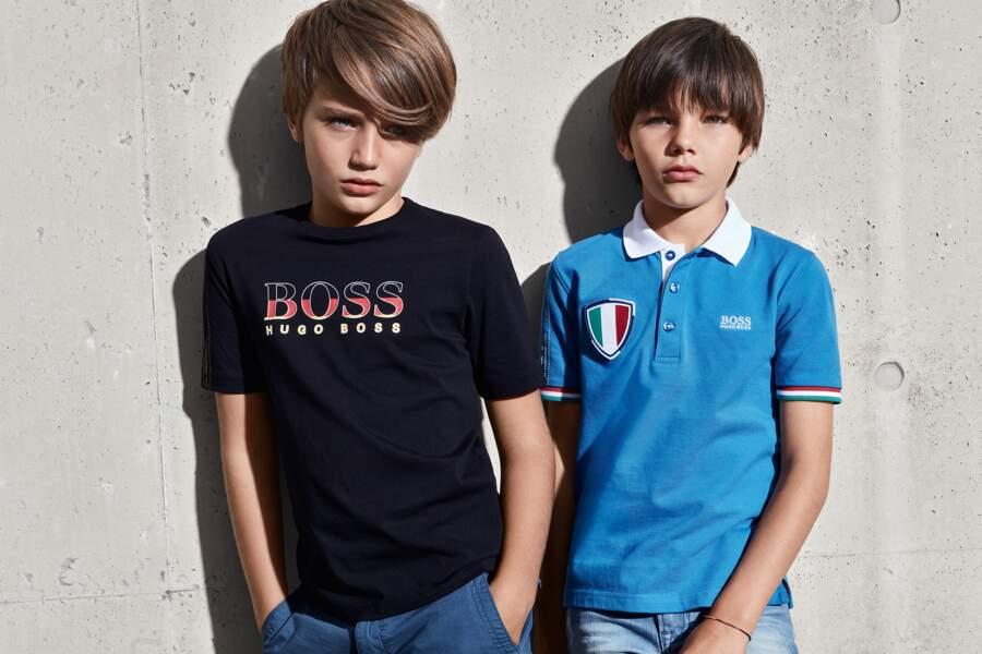 Collection capsule Coupe du Monde aux couleurs de 7 pays, Boss Enfants, à partir de 39 € (hugoboss.com).