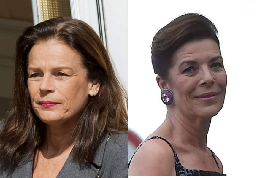 Malgré leurs styles très différents, Stéphanie de Monaco (à G.) et sa soeur Caroline se confondent facilement