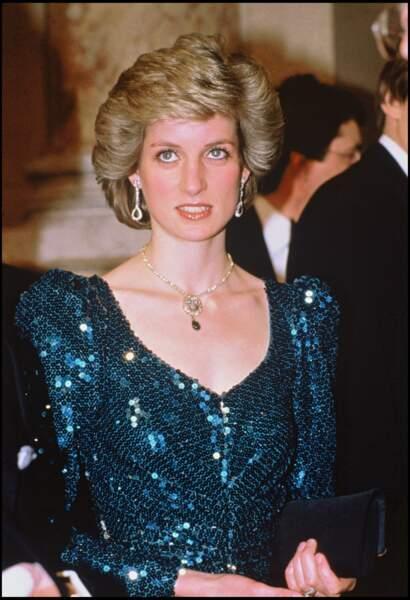 Lady Diana en robe à sequins lors d'une visite à Vienne, en Autriche, en 1986
