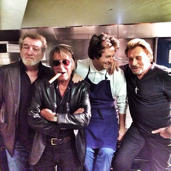 Eddy Mitchell, Jacques Dutronc, Jean Imbert et Johnny Hallyday en 2014