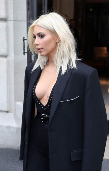 Kim Kardashian leaving the Royal Monceau hotel during Fashion Week