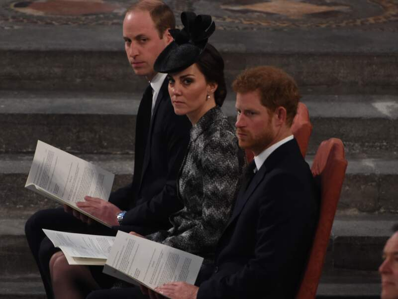Le prince William, Kate Middleton et le prince Harry