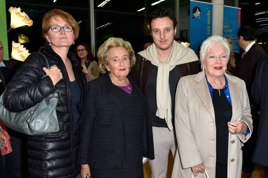 Claude, Bernadette, Martin Chirac et Line Renaud lors du 10e anniversaire de la Maison de Solenn à Paris en 2014