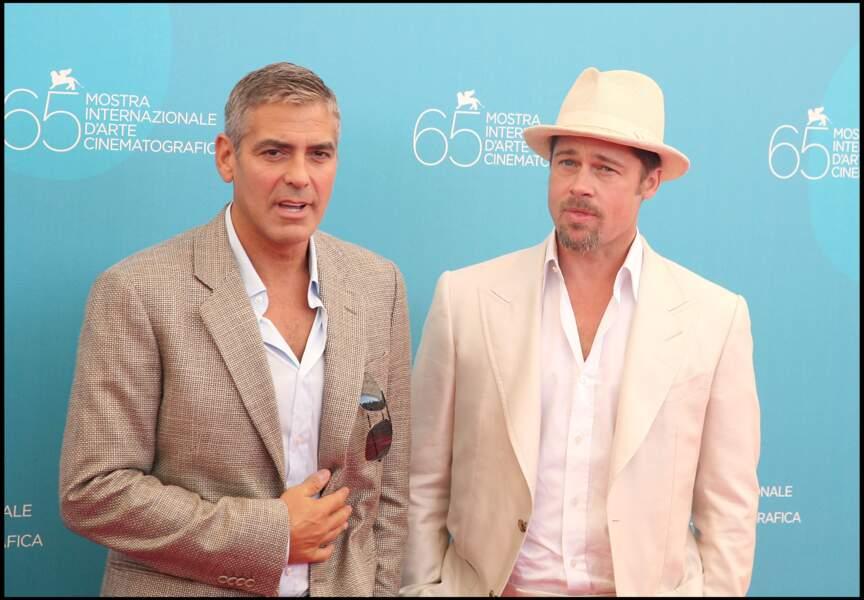 George Clooney et Brad Pitt au festival de Venise en 2008