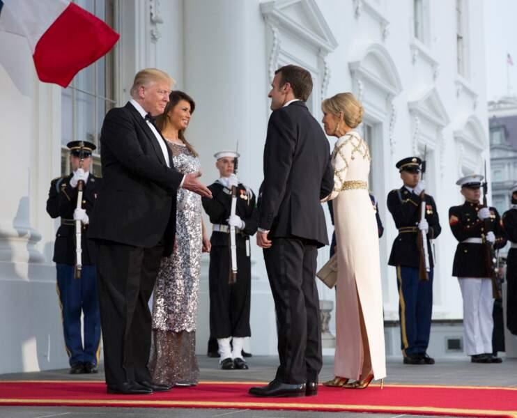Brigitte et Emmanuel Macron reçus à la Maison Blanche le 24 avril 2018
