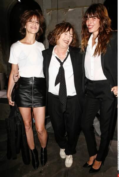 Jane Birkin avec ses deux filles Charlotte Gainsbourg et Lou Doillon, en 2016