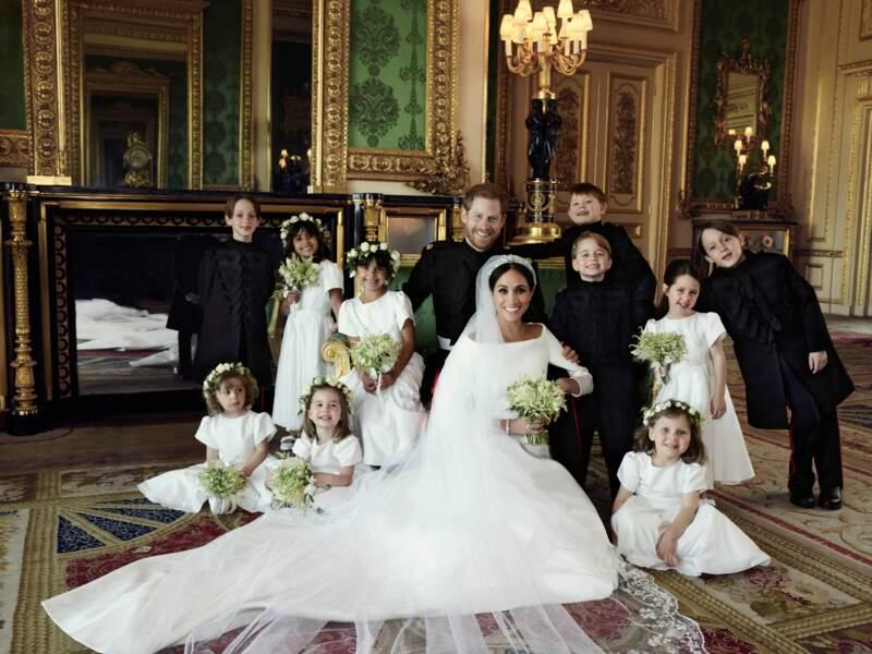 Photo officielle du mariage du prince Harry et de Meghan Markle (en robe Givenchy), à Windsor le 19 mai 2018