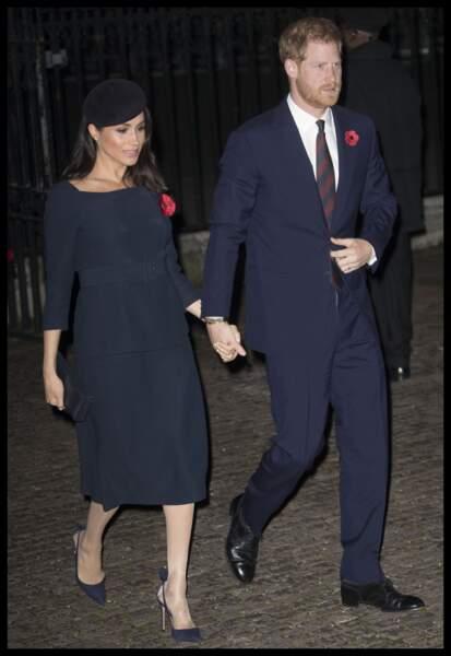 Meghan Markle et Harry arrivant à l'Abbaye de Westminster pour commémorer l'Armistice, le 11 novembre 2018