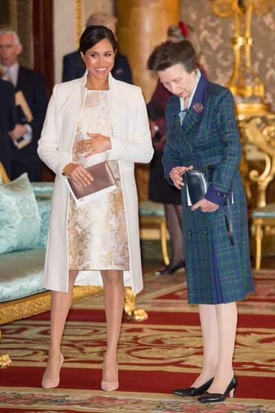 Meghan Markle et la princesse Anne lors de la réception pour les 50 ans de l''investiture du prince de Galles