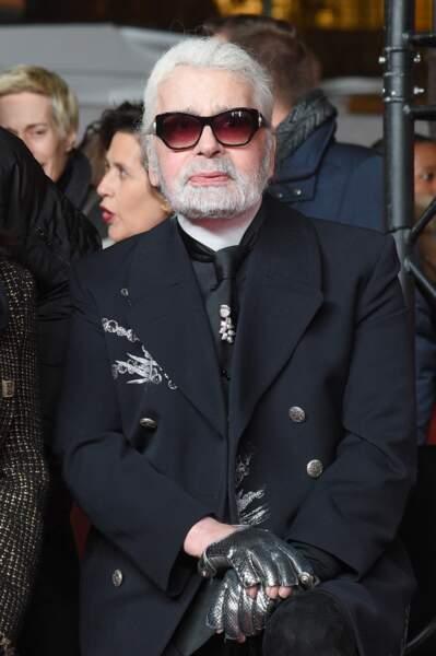 Karl Lagerfeld lors de l'illumination des Champs-Elysées à l'ocassion des Fêtes de Noël. Paris, le 22 novembre 2018