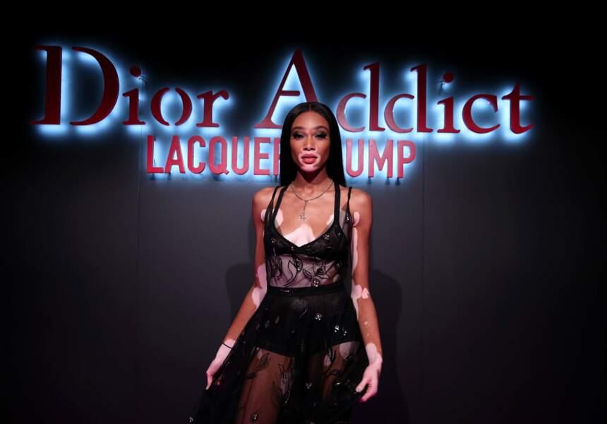 Le top Winnie Harlow lors de la soirée de lancement de Dior Addict Lacquer Plump