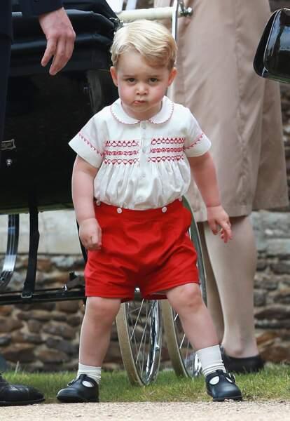 Le prince George de Cambridge après le baptême de Charlotte à Sandringham, le 5 juillet 2015
