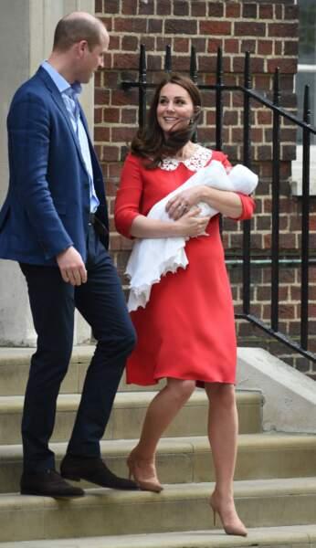 Kate Middleton le jour de son accouchement avec son second fils Louis