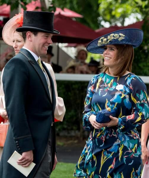 a princesse Eugenie d'York et son fiancé Jack Brooksbank assistent aux courses du Royal Ascot 2017