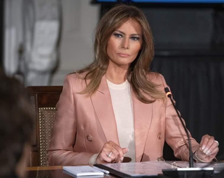 Melania Trump en meeting à la Maison Blanche le 18 mars 2019