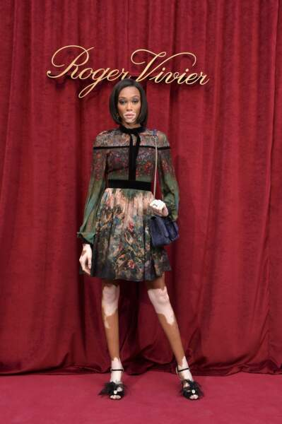 La mannequin Winnie Harlow pose au photocall Roger Vivier dans une robe imprimée comme une toile impressionniste.