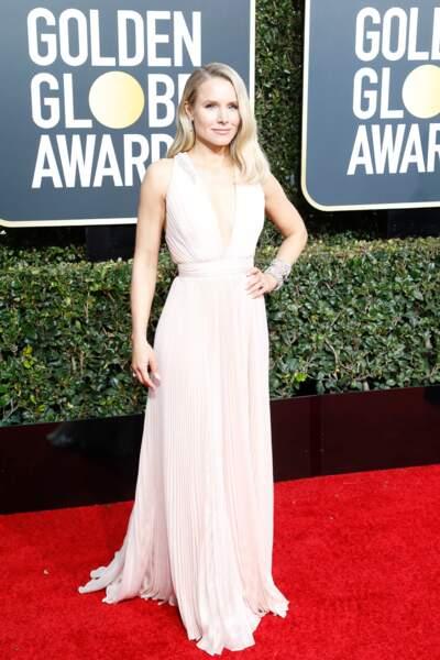 Kristen Bell en robe Zuhair Murad, lors de la cérémonie des Golden Globes 2019 à Los Angeles