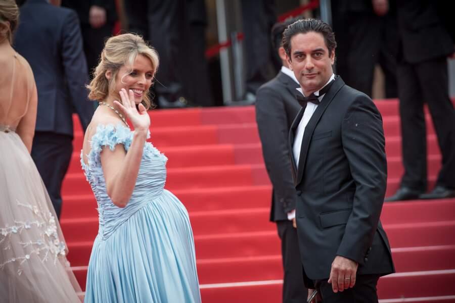 Sylvie Tellier enceinte et son mari Laurent à Cannes