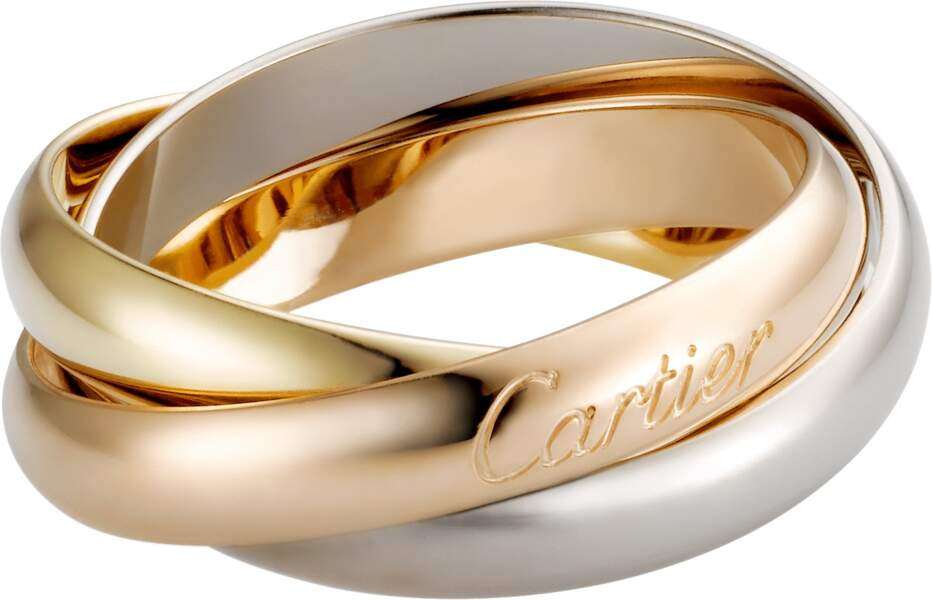Bague Trinity, or gris, or jaune et or rose, 1 290€, Cartier.