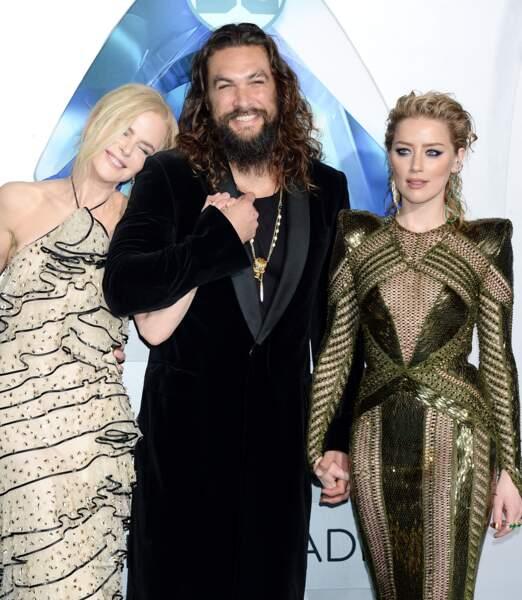 Nicole Kidman, Jason Momoa, Amber Heard à la première de Aquaman à Hollywood, le 12 décembre