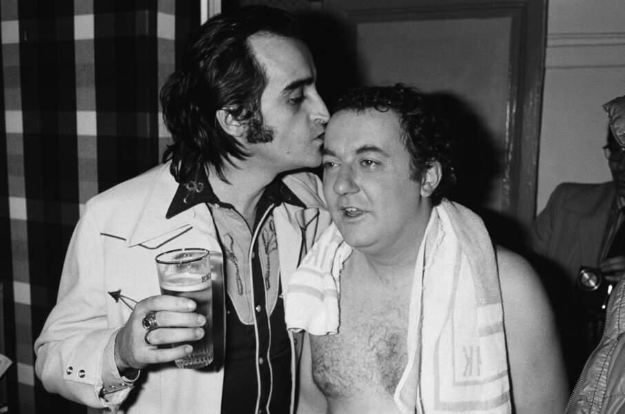 Coluche et Dick Rivers en 1975 à Bobino