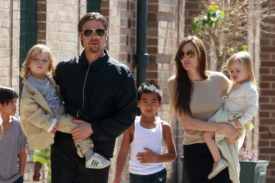 Brad Pitt, Angelina Jolie et leurs enfants à la Nouvelle Orléans en 2011
