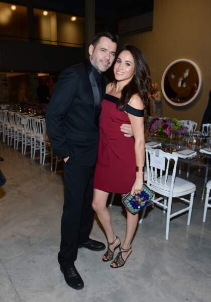 Le couturier français Roland Mouret et Meghan Markle lors d'un dîner à Toronto le 28 avril 2016