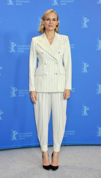 Diane Kruger épate en tailleur blanc Alessandra Rich en Allemagne, le 10 février 2019