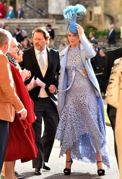 Poppy Delevingne, soeur de Cara, au mariage d'Eugénie d'York, au château de Windsor, le 12 octobre 2018