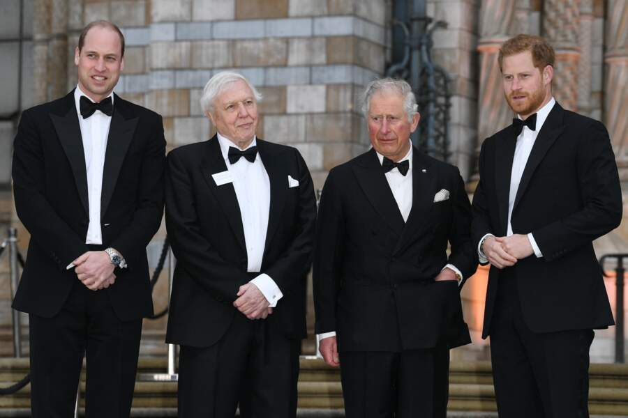 Le prince William, David Attenborough, le prince Charles et le prince Harry, à Londres, le 4 avril 2019.