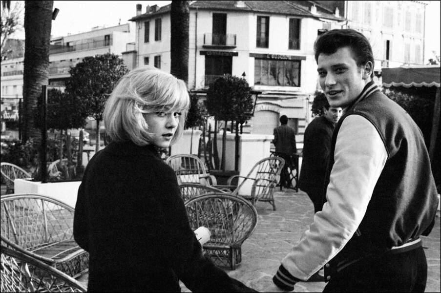 Sylvie Vartan et Johnny Hallyday sur la Côte d'Azur le 2 janvier 1965
