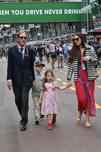 Andrea Casiraghi, sa femme Tatiana Santo Domingo et leurs 2 enfants Sacha et India au 77 ème Grand Prix de Monaco