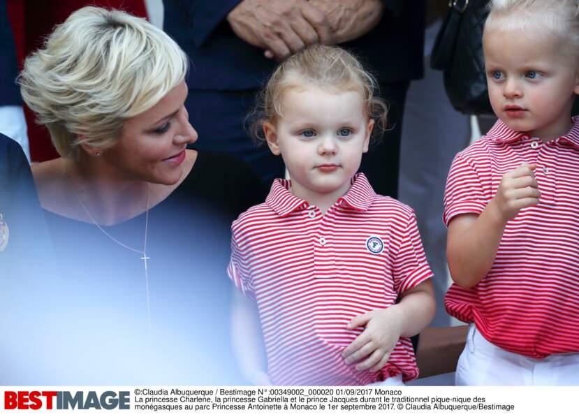 Charlene de Monaco, Gabriella et Jacques au traditionnel pique-nique des monégasques le 1er septembre 2017