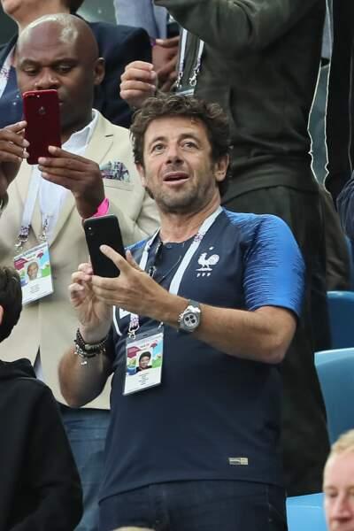 Patrick Bruel, supporter des Bleus lors de la Coupe du Monde, le 10 juillet 2018 en Russie