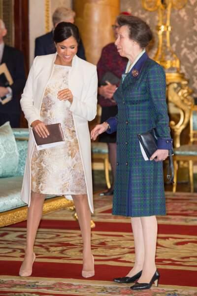 Meghan Markle et la princesse Anne à Buckingham Palace pour les 50 ans de l'investiture du prince de Galles