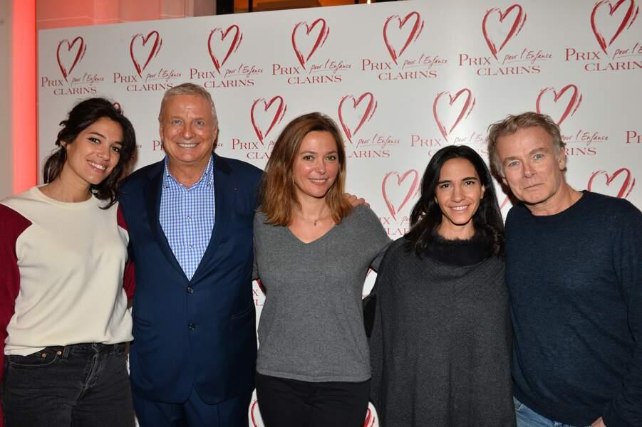 Sandrine Quétier, Laurie Cholewa et le couple Dubosc au goûter du Coeur du prix Clarins pour l'enfance