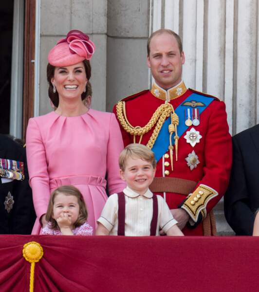 "Kate, William, George et Charlotte assistent à la parade ""Trooping The Colour"" le 17 juin 2017 à Londres"