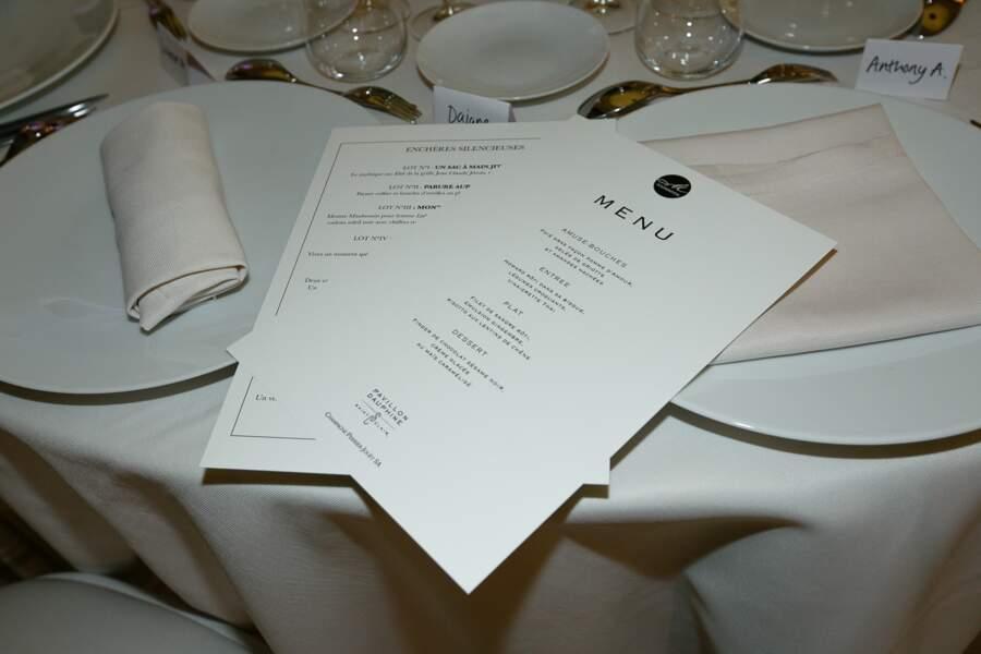 Menu du dîner d'exception organisé par la M Foundation