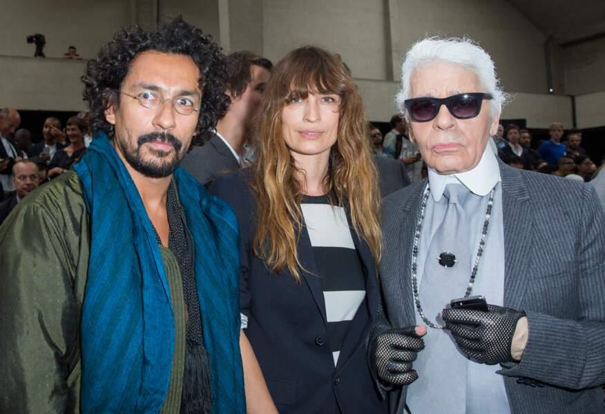 Harider Ackermann, Caroline de Maigret et Karl Lagerfeld lors de la Fashion Week à Paris en 2014