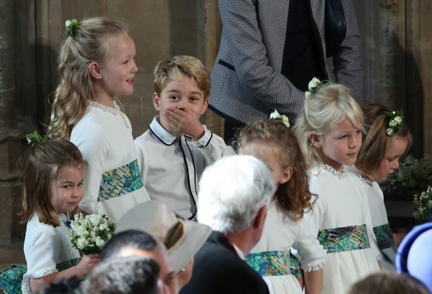 George et Charlotte de Cambridge lors de la cérémonie de mariage d'Eugénie d'York, le 12 octobre 2018