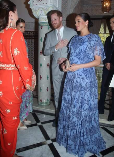 Meghan Markle en robe Carolina Herrera pour rencontrer le roi du Maroc le 25 février