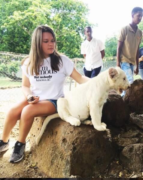 Camille en vacances à l'île Maurice craque pour ce jeune pensionnaire du parc animalier de Casella.