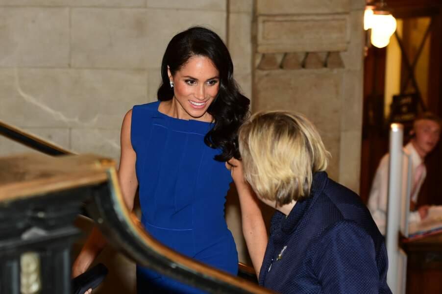 Meghan Markle salue les invités lors d'un concert de charité donné à Londres ce jeudi 6 septembre.