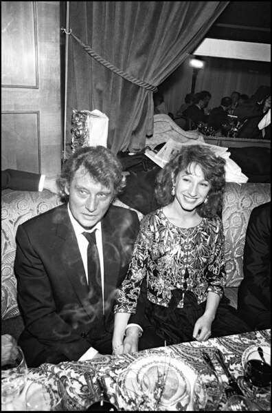 Johnny Hallyday et Nathalie Baye à la cérémonie des César, en 1983