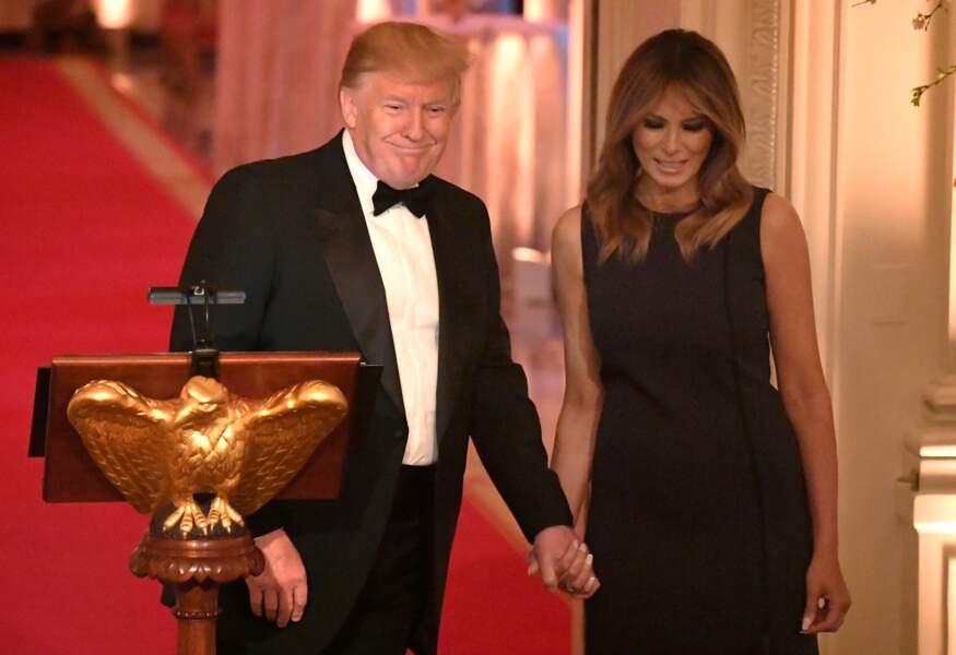 Donald Trump et sa femme Melania affichent leur complicité, à la Maison Blanche, le 15 mai 2019.