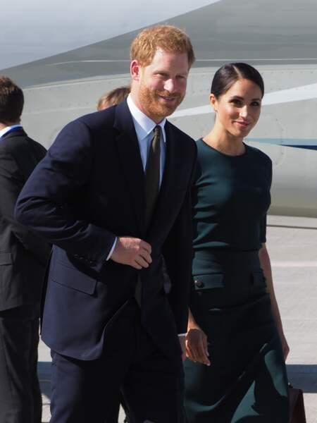 Meghan Markle et le prince Harry à l'aéroport de Dublin le 10 juillet 2018