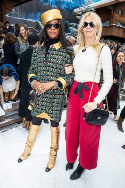 Naomi Campbell et Claudia Schiffer se sont retrouvées au défilé Chanel, hommage à Karl Lagerfeld.
