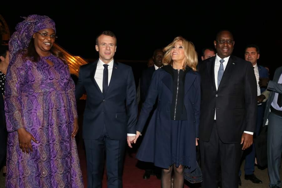 Emmanuel et Brigitte Macron avec Macky et Marieme Faye Sall