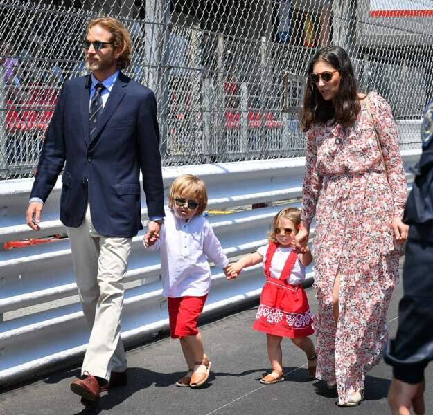Andrea Casiraghi, Tatiana Santo Domingo et leurs enfants Sacha et India au Grand Prix F1 de Monaco en 2017